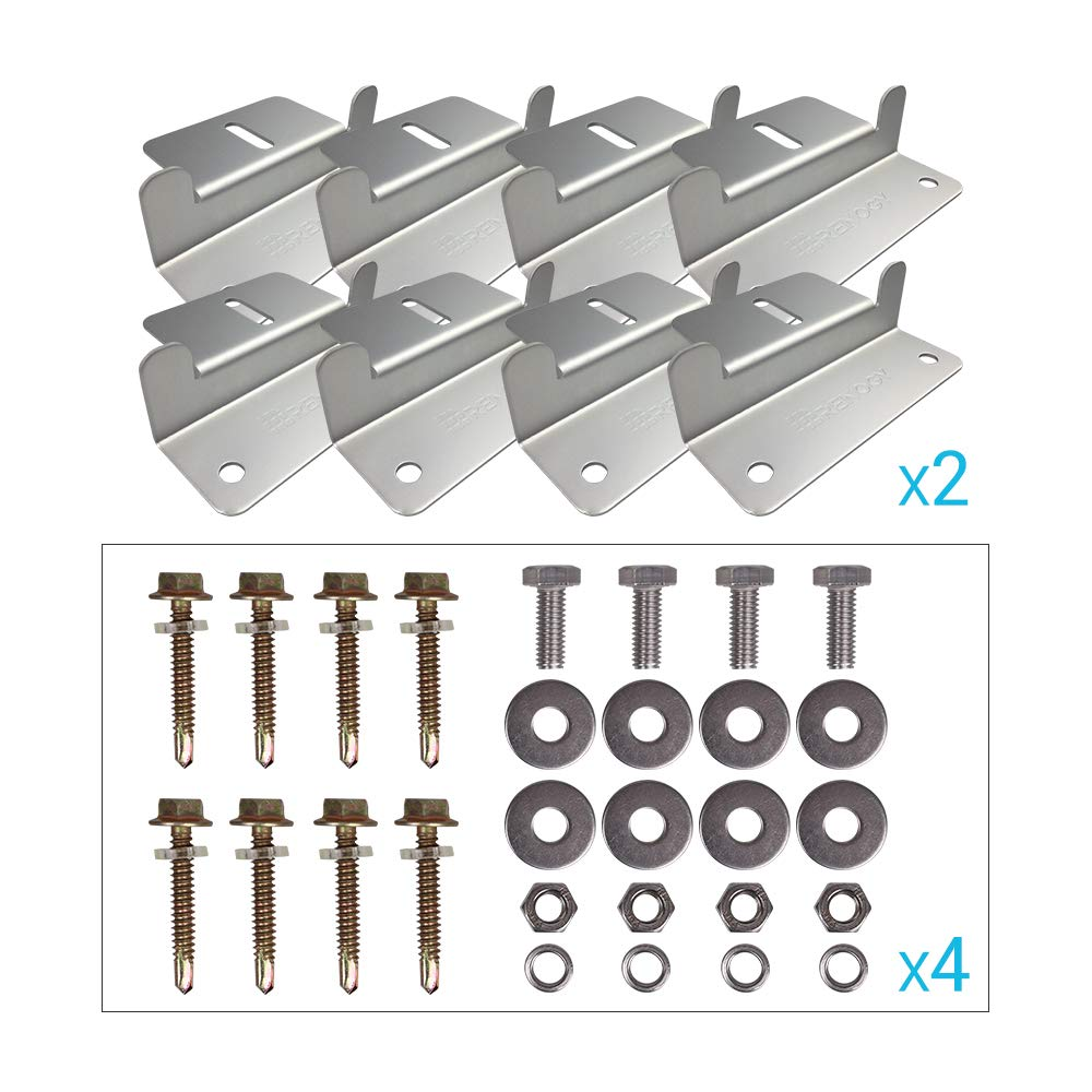 Renogy 4 Sets of Solar Panel Mounting Z Brackets for RV, Boat, Wall and Other Off Gird Roof Installation, 4 Pack by Renogy