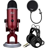 Blue Microphones Yeti Crimson Red USB Mic Bundle with Headphones and Knox Gear Pop Filter (3 Items)