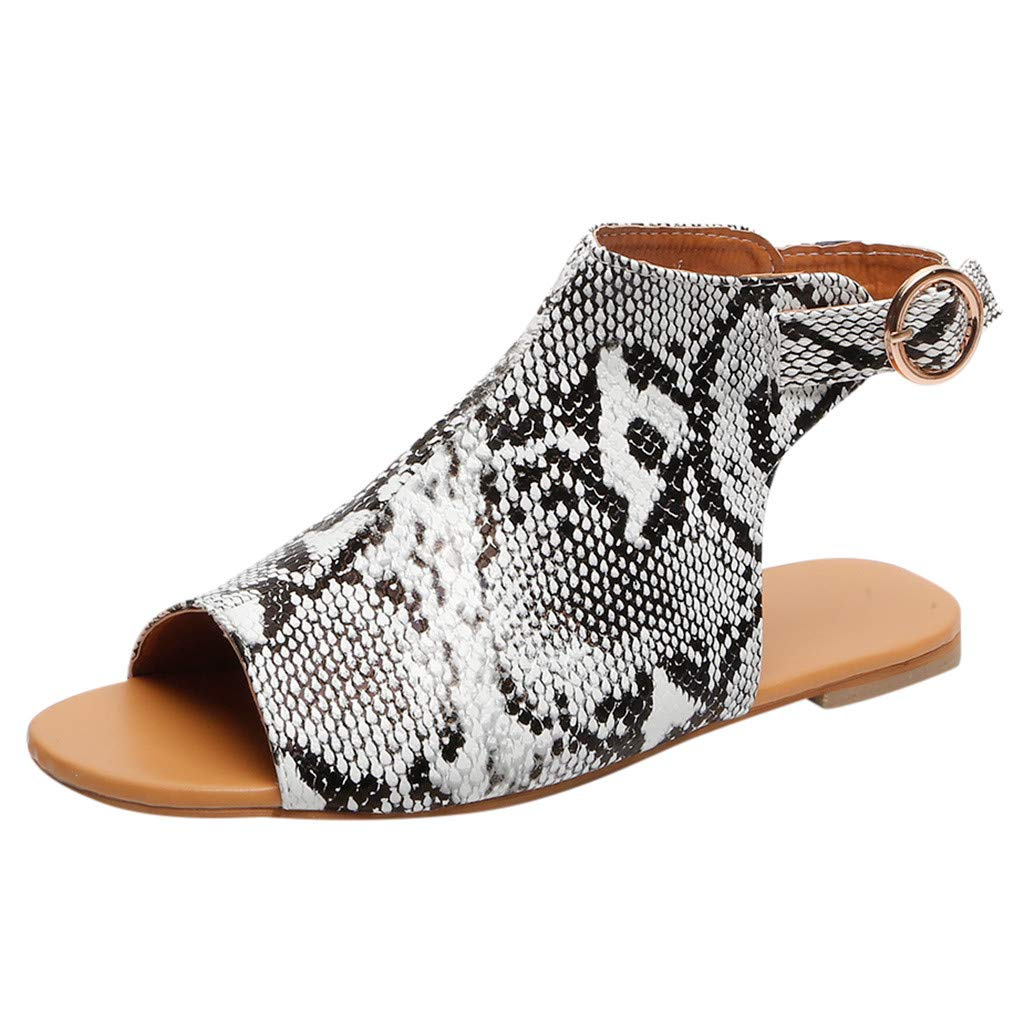 Orangeskycn Women Sandals Summer Ladies Fashion Peep Toe Fish Mouth Buckle Strap Sandals Casual Flat Beach Shoes