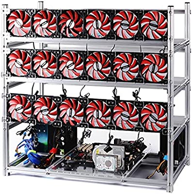 US 6 GPU 4 LED Fans Coins Air Mining Frame Rig Case For ETH ZEC//Bitcoin Miner