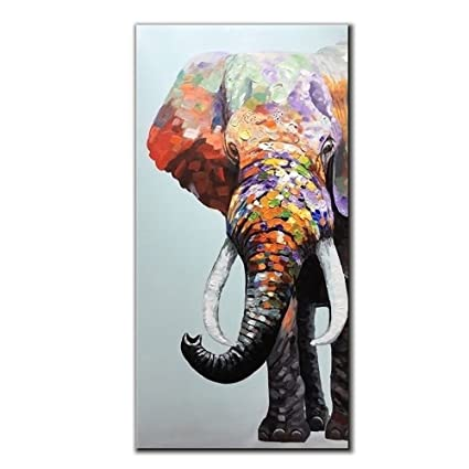 V Inspire Art 24x48 Inch Colourful Elephant Oil Painting Canvas Wall Art Wall Decorations Paintings For Living Room Bedroom Kitchen Office Etc