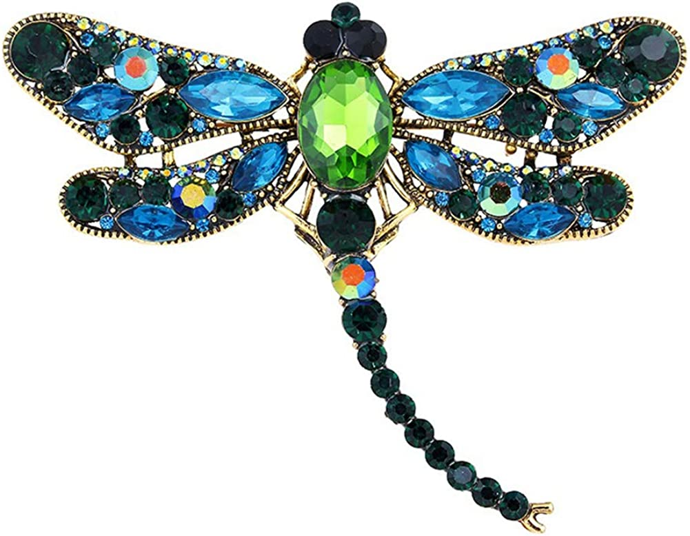 AILUOR Multi-Colors Wing Dragonfly Brooch Pin, Austrian Crystal Rhinestone Dragonfly Necklace Women Jewelry Wedding Bouquet Brooch