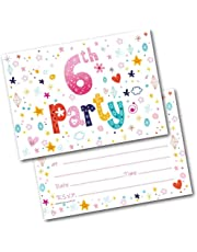 Doodlecards 6TH Birthday Party Invitations Age 6 Female Girls Childrens Pack of 20 Invites