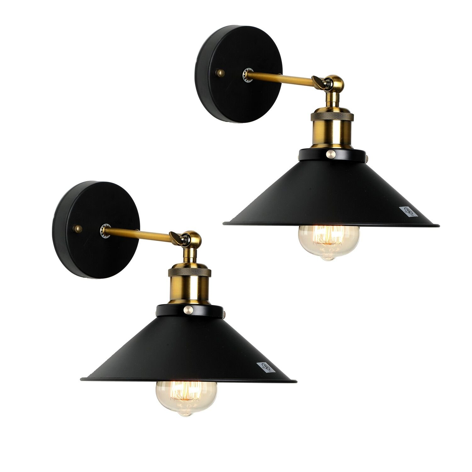 Wall Sconce Lighting Shade,Topotdor 180 Degree Adjustable Metal Edison Vintage Wall Light Lamp Fixture (Antique Brass, set of 2)