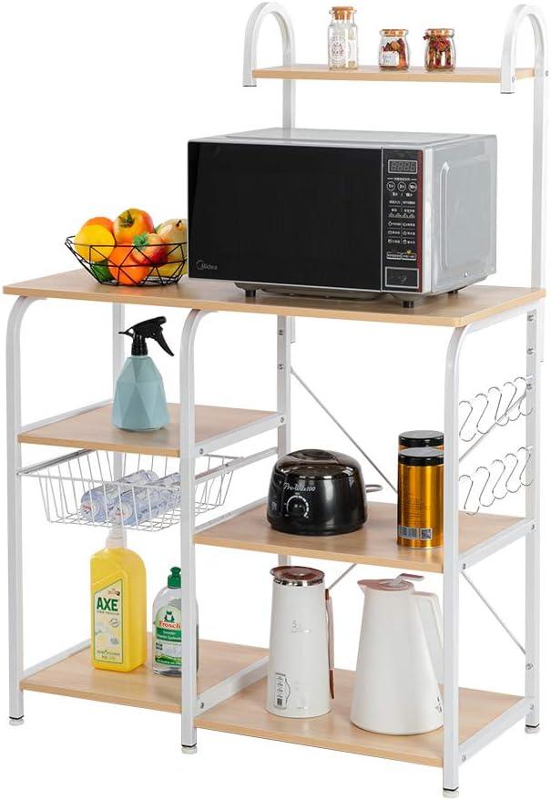 Goujxcy 4 Tier Kitchen Utility Storage Shelf Vintage Black Microwave Stand Bakers Rack Basket Wooden Organizer Shelves with 10 Hooks