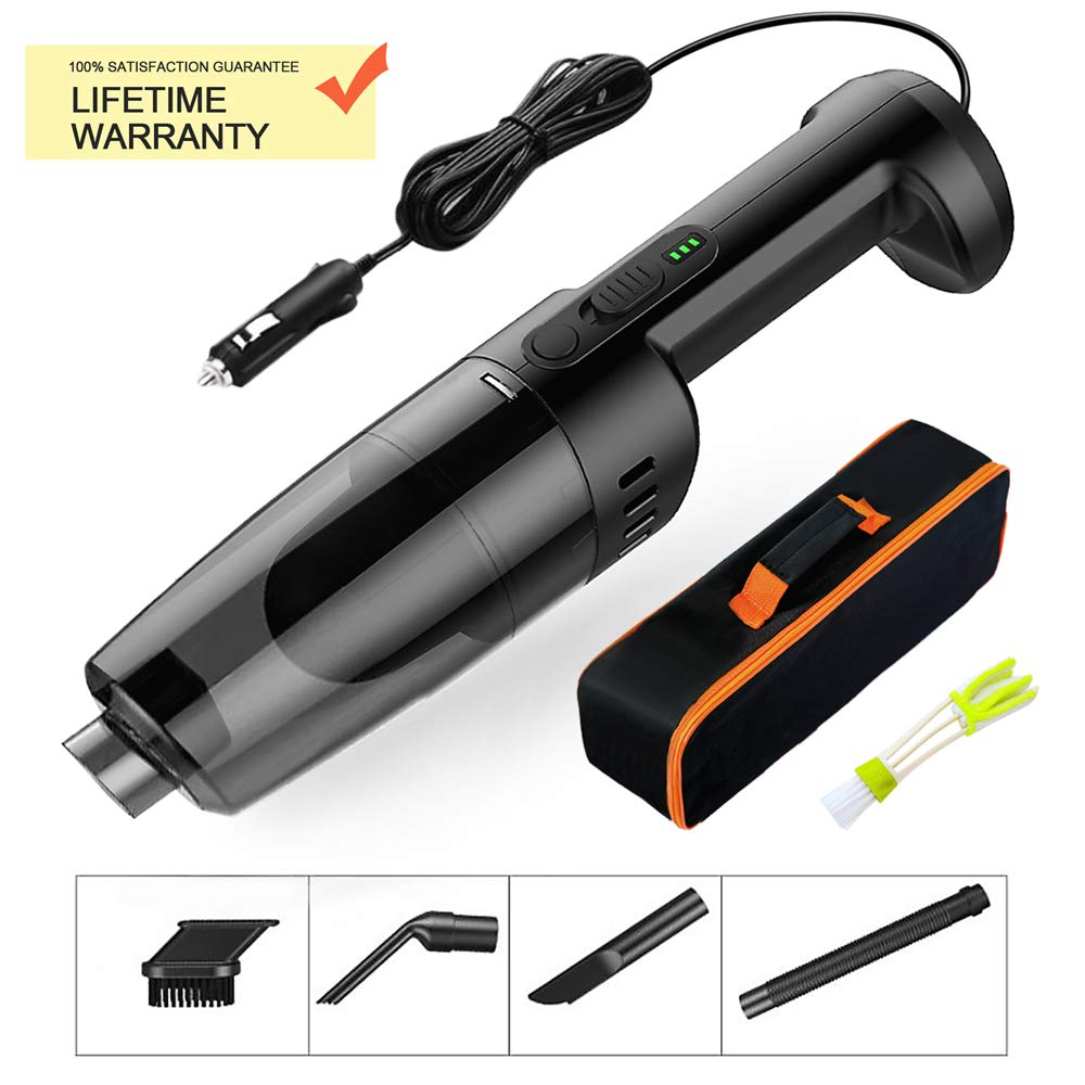 Black Carrying Bag Raniaco Car Vacuum Cleaner 12V 120W Car Hoover 5000PA Much Stronger Suction Potable Handheld Auto Vacuum Cleaner with 4.5M Power Cord Cleaning Brush