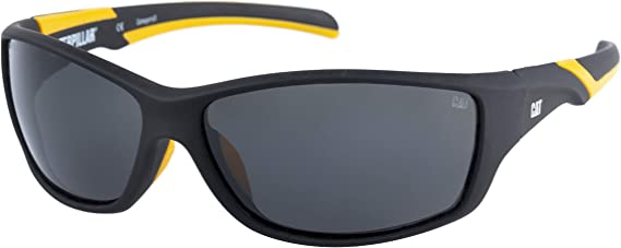 Black and Yellow Caterpillar Track Safety Glasses Smoke