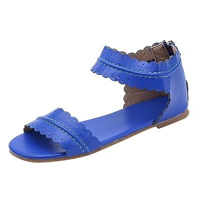 Yying Frauen Zehentrenner Sandalen Damen Bohemian Flip Flops Sommer Schuhe, Römersandalen Offene Sandalen, Antirutsch Flach Sandaletten Strandschuhe Blau 40