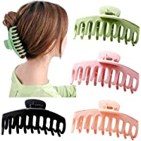 Big Claw Clips 4 Inch Nonslip Hair Clip Banana Large matte rubber for Women and Girls Think Curly Hair French Design…