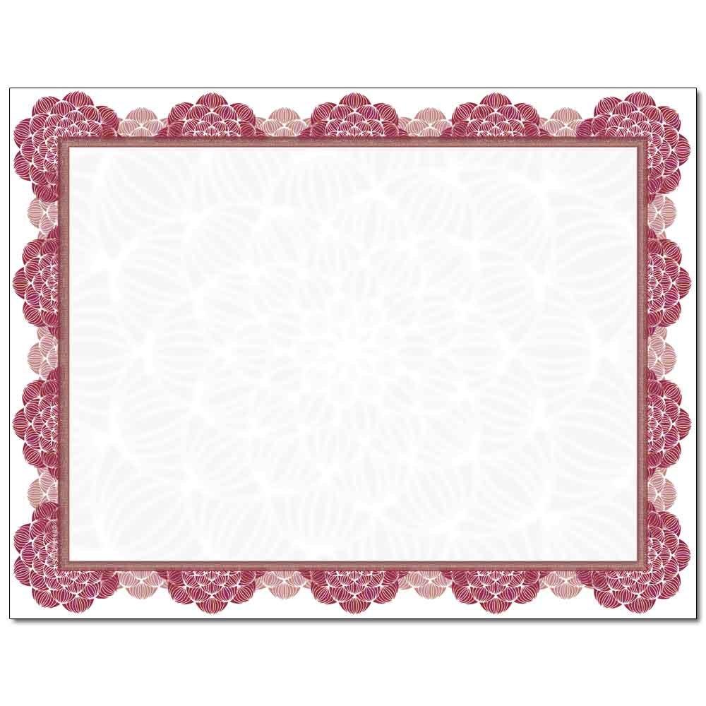 Burgundy Medallion Laser & Inkjet Certificate Border Paper, 100 pack