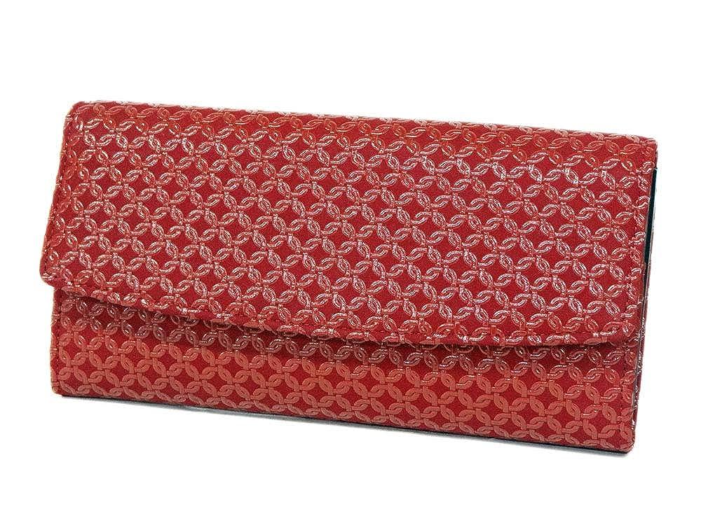 【印傳屋】 印伝 長財布 2310束入れ 赤地鹿革×赤漆 輪繋ぎ小   B07QDXP9XZ