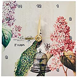 3dRose dc_110312_1 Paris Peacock with Hydrangea Flowers-Desk Clock, 6 by 6-Inch