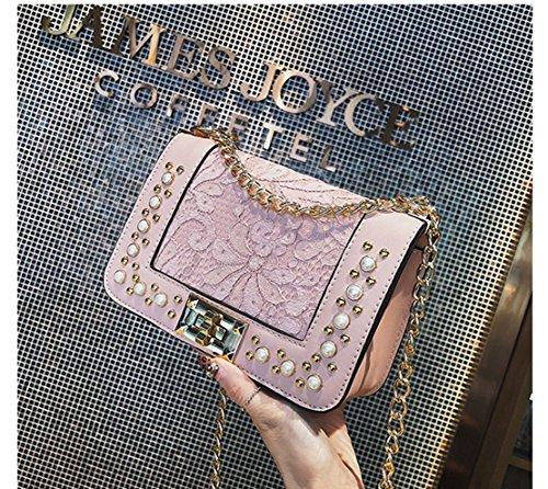 L'épaule Pink Coréenne Sac Carré Dentelle Chaîne Version De Petit De Paquet Messenger Rrock Fashion Rivets nW7c6vv