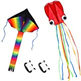 Listenman 2 Pack Kites - Large Rainbow Kite and Red Mollusc Octopus with Long Colorful Tail for Children Outdoor Game,Activit