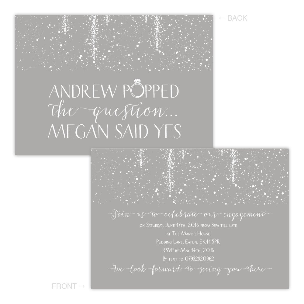 A5 double-sided Silk card Made by Mika Personalised engagement party invitations GREY SPARKLE POP FREE DRAFT & FREE ENVELOPES (200, A5 double-sided Silk card)
