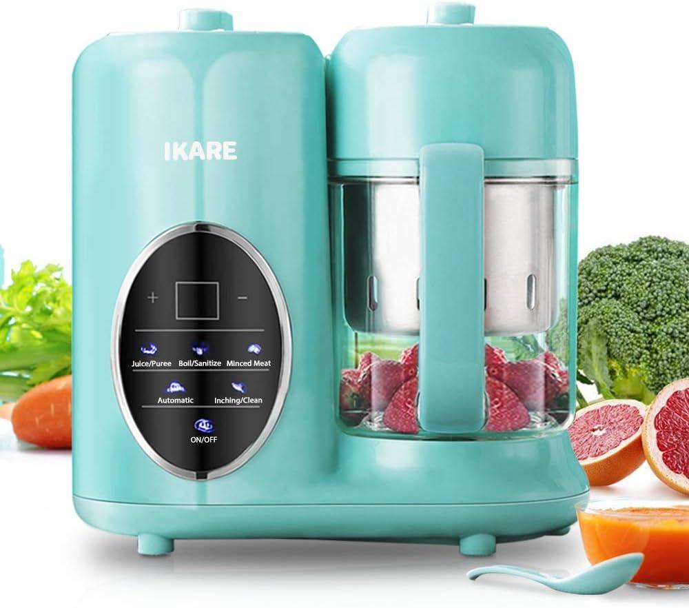 IKARE Robot de Cocina Bebé- 8 en 1 Procesador de Alimentos Bebes con tanque de agua desmontable y cesta y taza de vapor - Panel de control táctil - Cocina comida para