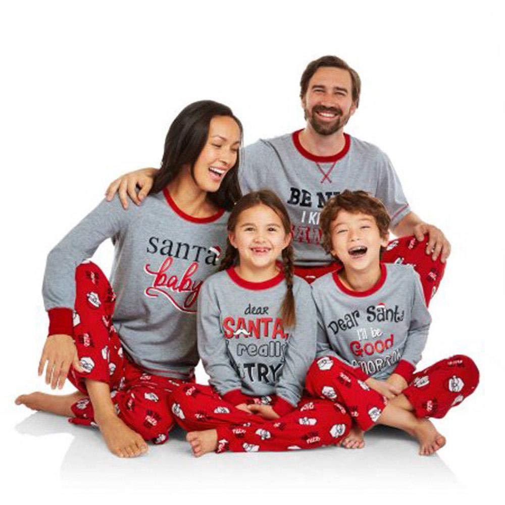 Family Santa Claus Printed Pajamas Sets Christmas Long Sleeve Sleepwear Outfits Toddler