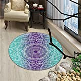 Purple and Turquoise Round Area Rug Carpet Hippie Ombre Mandala Inner Peace and Meditation with Ornamental ArtOriental Floor and Carpets Purple Aqua