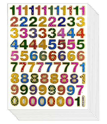 Colorful 0-9 Number, 10 Sheets Self-adhesive Glitter Metallic Foil Reflective Sticker Decorative Scrapbook for Kid, Birthday Party, Photo, Card, Envelope, Diary, Album. EACH Number 0.5 Inches High ()