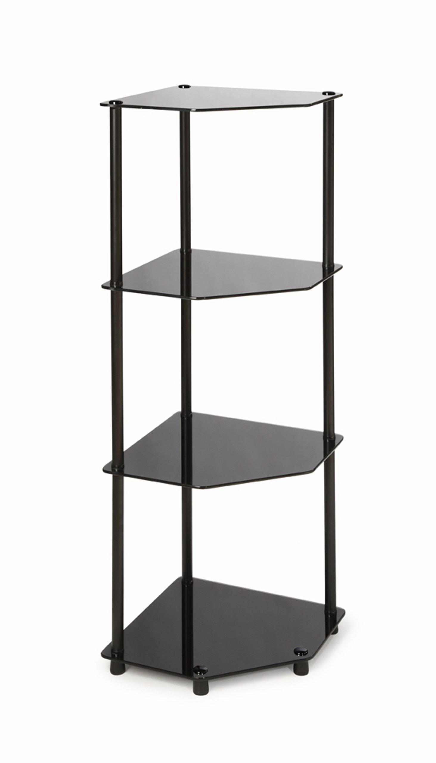 Convenience Concepts Designs2Go Midnight Classic 4-Tier Glass Corner Shelf, Black Glass