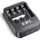 EBL 2-hour iQuick AA AAA Rechargeable Battery Charger with Battery Intelligent Auto-detection Tech for 1-4 NiMH Rechargeable Batteries