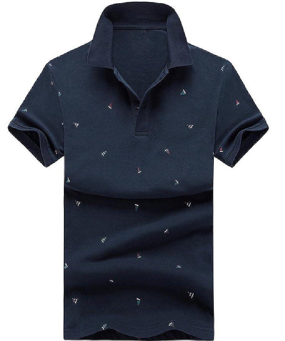 YUNY Mens Slim Casual Digital Print Basic Style Pique Polo Shirt 4 M