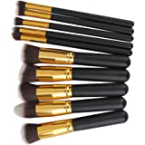 Phenovo Black and Golden Wooden Handle and Aluminium Tube and Fiber Bristle Makeup Brushes -Set of 10 Pieces