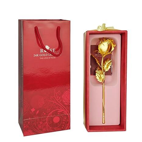 Amazon.com: XJ&DD - Rosa de oro de 24 quilates, rosa dorada ...