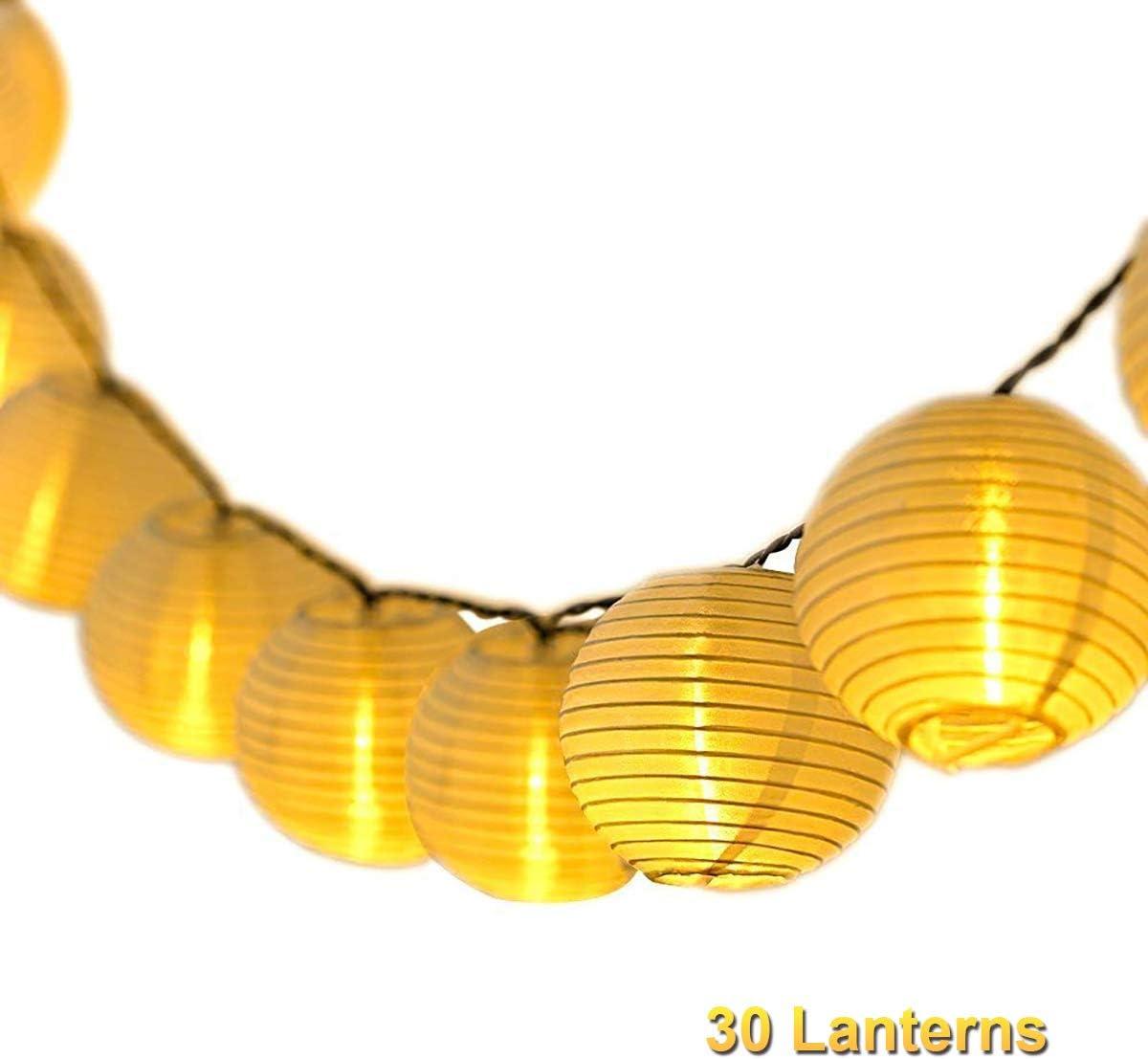Qomolo Guirnaldas de Luces,30 LED Iluminación De Arbol de Navidad Interior y Exterior Decoración Farolillos,Impermeable Luminosa De Linternas Para Bodas,Jardín,Fiesta (Alimentado por Batería)