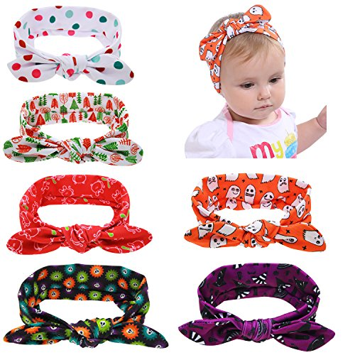 Halloween Headbands For Infants (inSowni 6 Pack Thanksgiving Halloween Headbands Self Tie Hairbands for Baby Girls Newborns Infants)