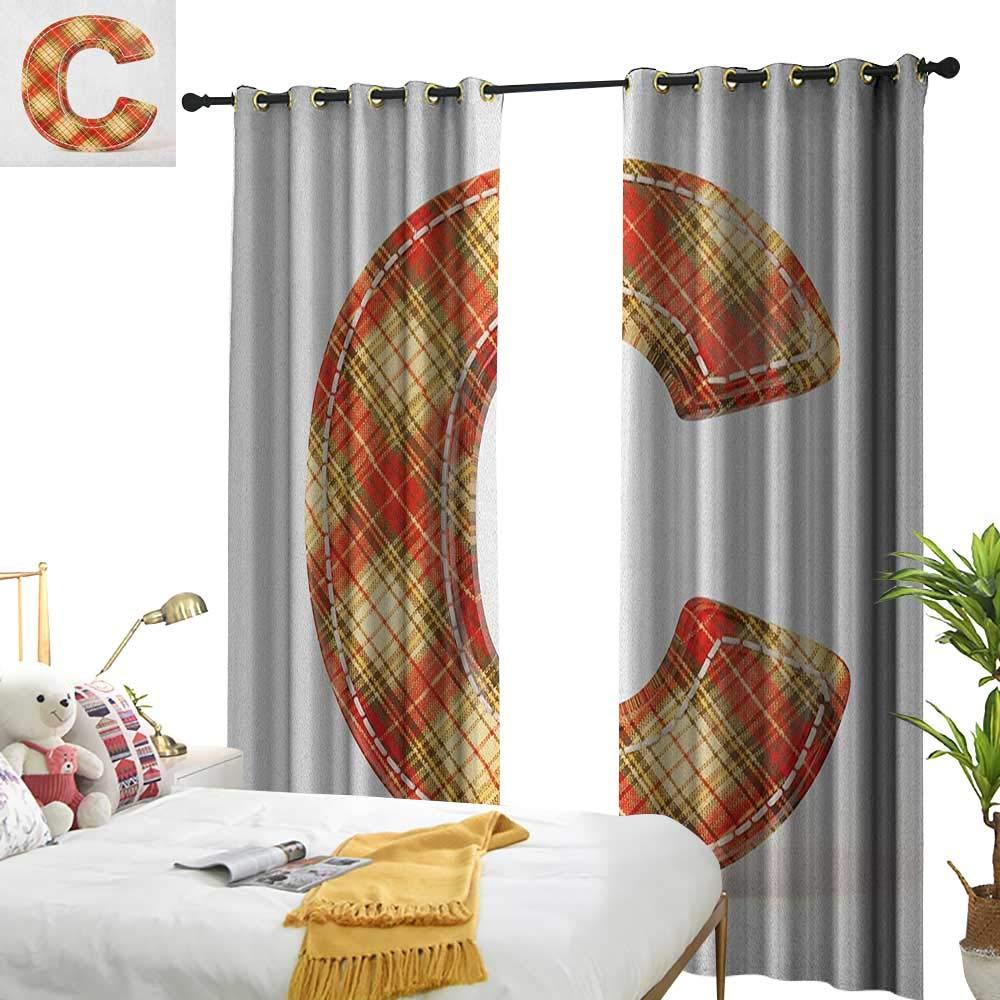 longbuyer 文字C カスタマイズカーテン ヴィンテージタイプフェイス クラシカルパターン 裁縫 クラフトテーマ 幅72 x 長さ84 寝室 リビングルーム 勉強部屋などに最適 W84