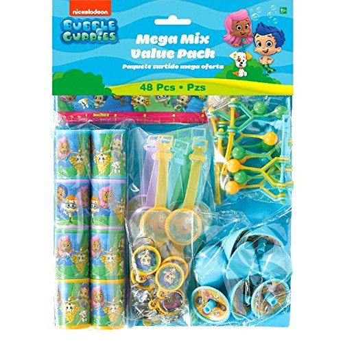 Aqua Awesome Bubble Guppies Birthday Party Favors Mega Mix Value Pack (48 Piece), Multicolored -