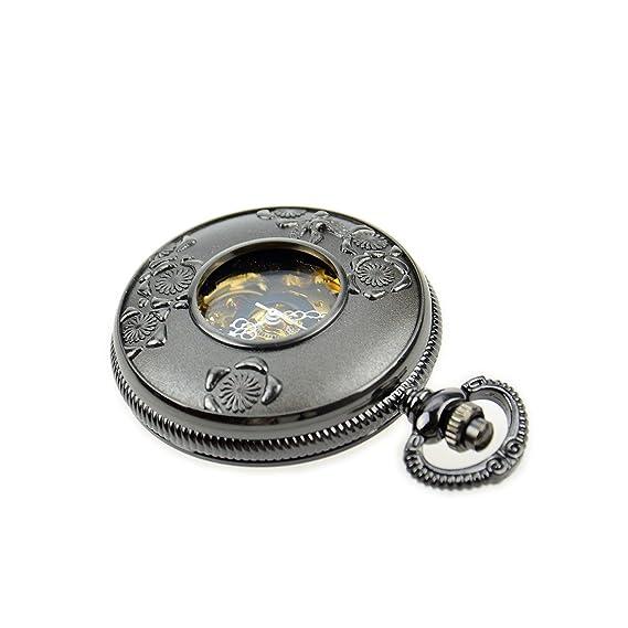 El mundo de la moda Retro negro Digital minimalista Reloj de bolsillo Mecánico: Amazon.es: Relojes