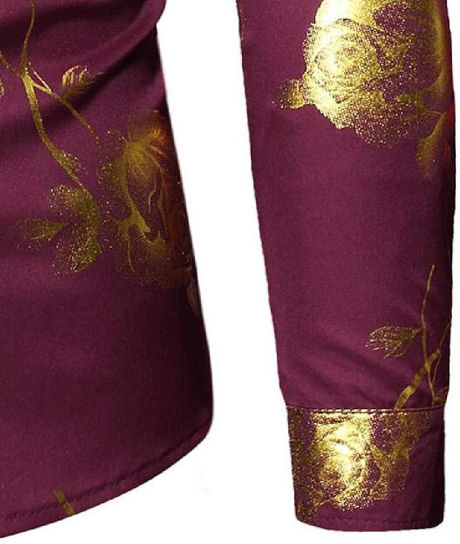 KLJR Men Shirts Long Sleeve Flower Printed Button Down Casual Loose Dress Shirt Top