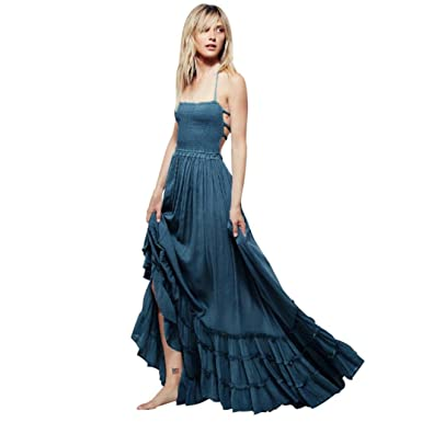feiXIANG Damen Sommerkleid Lange Maxi Kleid Riemchen Plissee Kleid ...