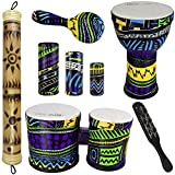 Rise by Sawtooth Jamaican Me Crazy Percussion Set with Djembe, Bongos, & Rain Stick