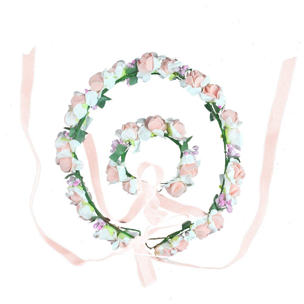 1Set Bambini Corone di fiori per capelli braccialetto Festival Matrimonio spiaggia aplicable HBF 9004