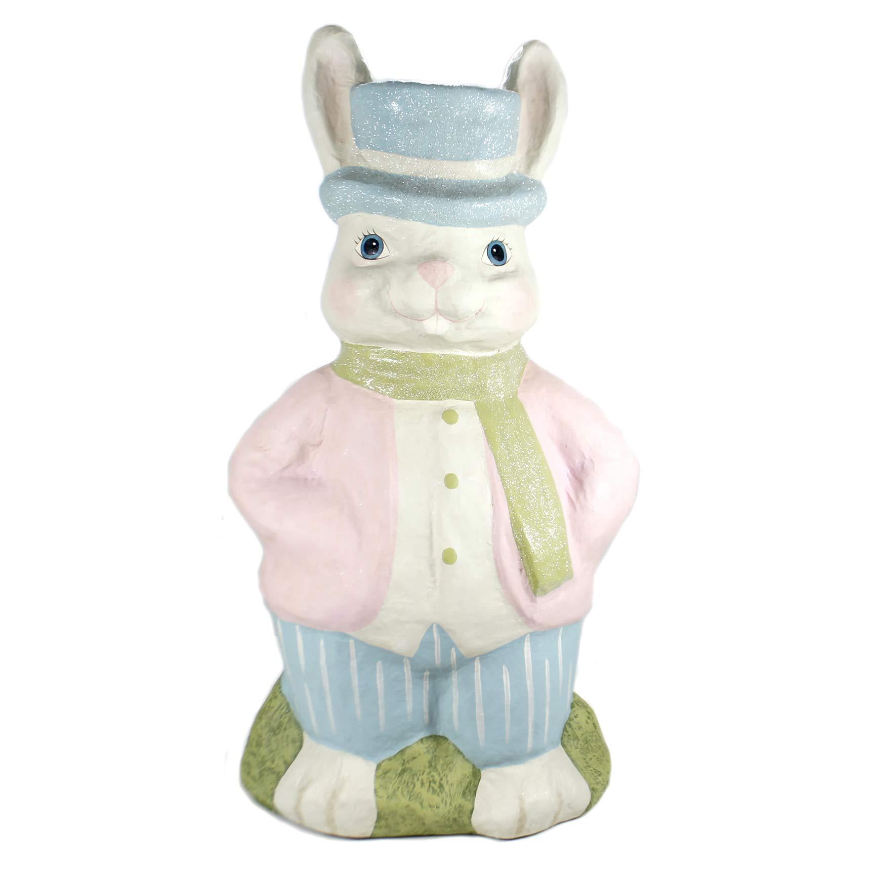 Easter Large Retro Bunny Paper MACHÉ Paper Maché Rabbit Pastel Tj8646