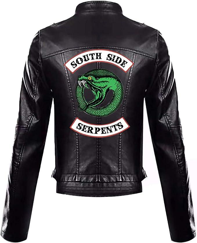 Girls Riverdale Southside Serpents Biker Gang Black Leather Jacket for Girls-2