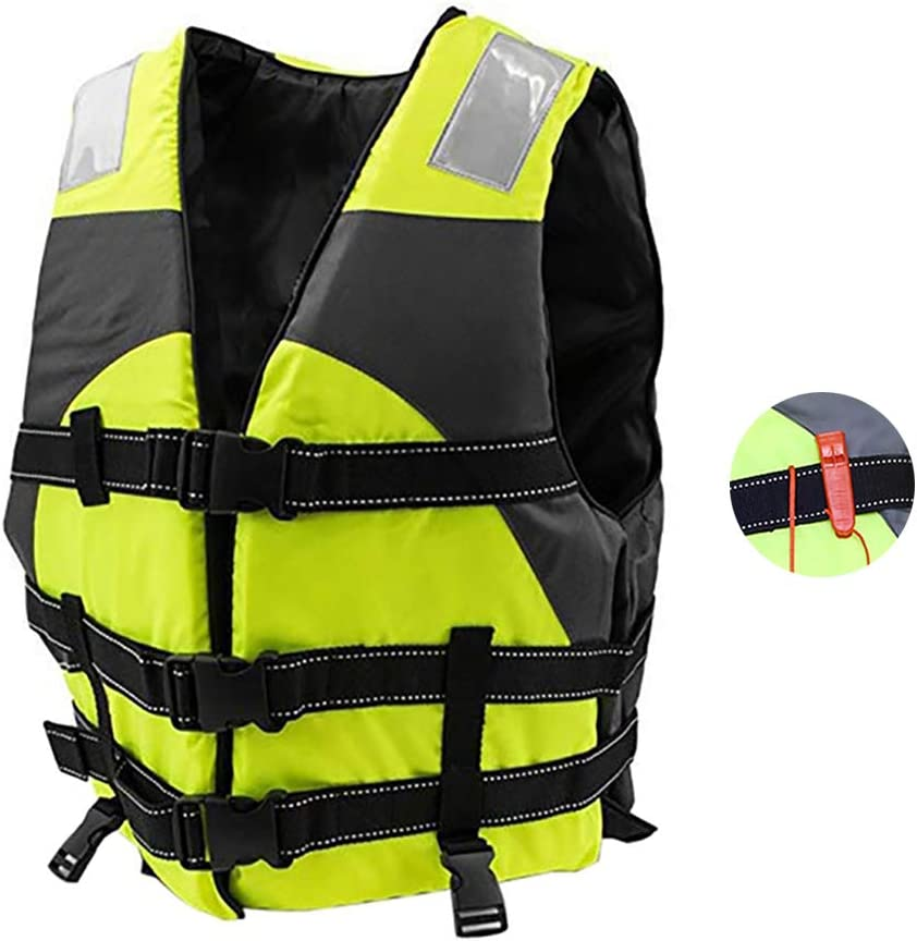 Adults Life Jacket Water Sports Reflective Float Safety Vest Adjustable Belt Buoyancy Life Vest with Rescue Whistle for Swimming Kayaking Surfing Rafting,Blue
