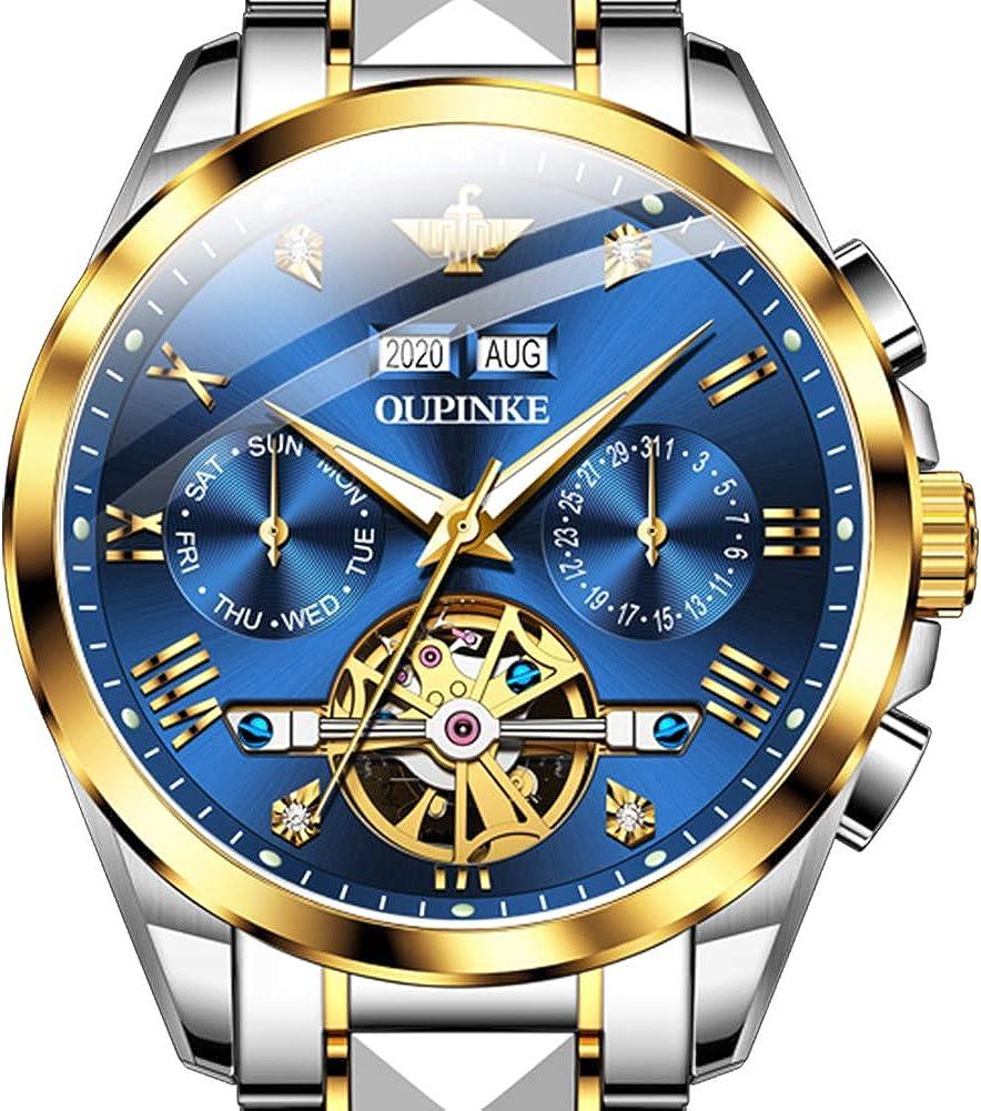 OLEVS - Reloj de pulsera para hombre, acero inoxidable, resistente al agua, de dos tonos, reloj de pulsera de buceo de lujo clásico para hombre, ...