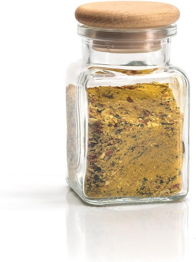 8 Jars 150 ml Kirrex Glass Spice Jars with Wooden Lid