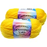 Well Krafty Premium Acrylic Yarn, Snag Free, 4 Ply for Knitting, Crochet and DIY Projects (2 Pack) (Yellow)