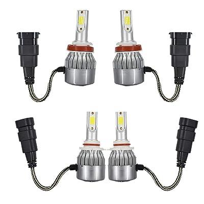 WFLNHB 4Pack 9005 H11 Combo Led Headlight Kit 6000K White COB Chips Fog Light High & Low Beam Light Bulbs: Automotive