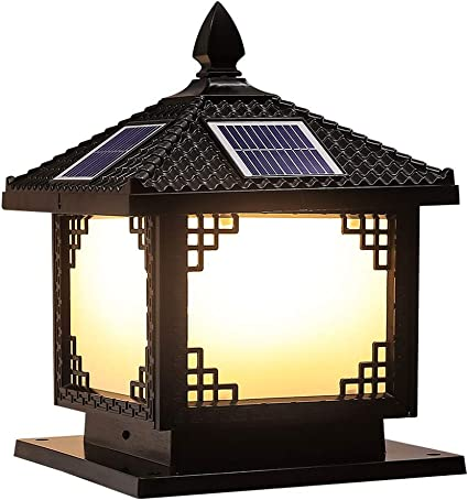 Libuty Solar impermeable al aire libre Muro Publicar poste de la lámpara de la lámpara creativa al aire libre Patio Puerta de la lámpara de pared, luces al aire libre Pon Accesorios,