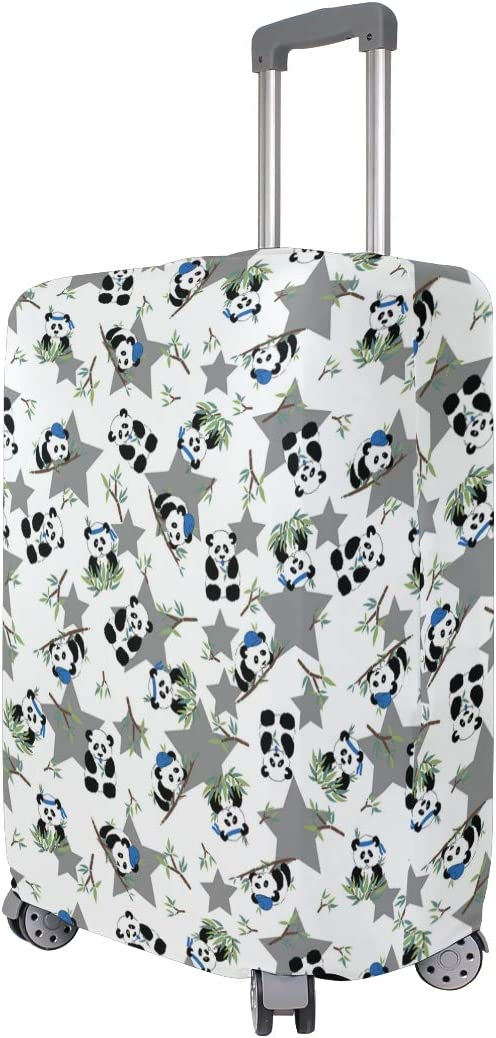Fashion Travel Cute Pandas With Bamboo Star Luggage Suitcase Protector Washable Baggage Covers