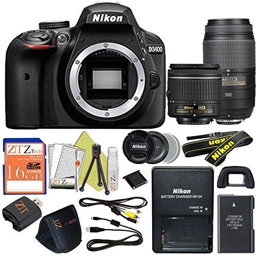 Cheap Nikon D3400 24.2 MP Digital SLR Camera (18-55mm & 55-300mm, Retail Packaging)