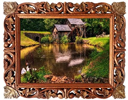 House Near The River Poster Painting In Hand Carved Wood Frame Art