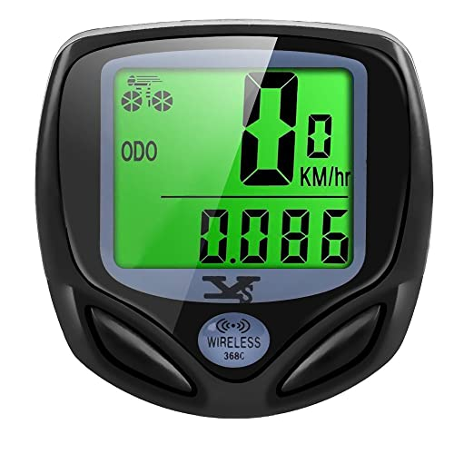 Y&S Bike Computer Wireless Waterproof Cycling Computer Automatic Wake-up Multifunctions Bicycle Speedometer Odometer Backlight LCD Display-Tracking Distance Avs Speed Time