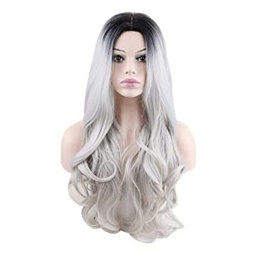 Amazon.com   Sonmer Women Sexy Gradient Gray Long Curly Mix Colors Synthetic  Wig 4a42e8573b